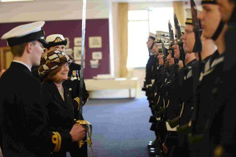 ALL SHIP SHAPE: Lady Heather Brigstocke meets the crew of HMS Portland at the ship's