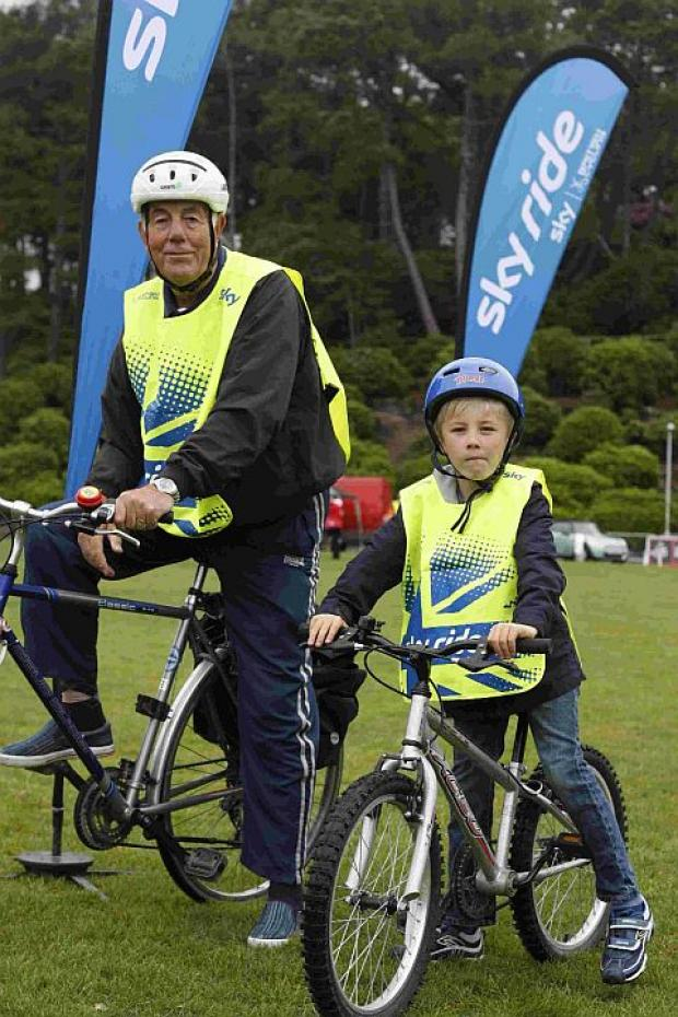 ON THEIR BIKES: Cllr Dennis Gritt and grandson Ollie Gritt. Left, Ian Kalra, transportations services manager