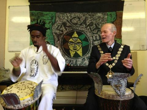 BANGING THE DRUM: Mayor Cllr Phil Stanley-Watts joins for a session with Cheikh Diop