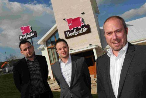 Weymouth Beefeater general manager Paul Male, right, with from left, deputy general manager Ross Boreham and assistant manager Dean Senior