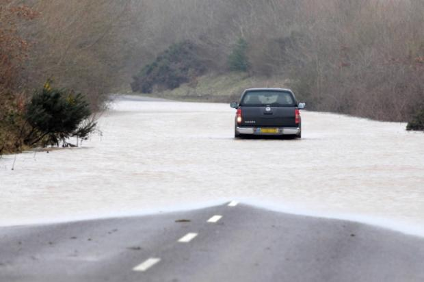 Flooding on the West Stafford Bypass, which closed the road on Friday